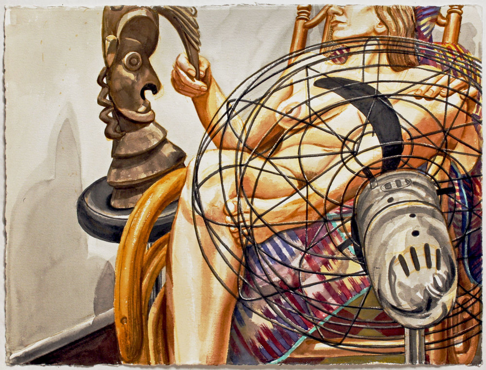 NUDE WITH FAN AND AFRICAN DRUM, 1999 Watercolor on paper 22 1/2 x 30 inches
