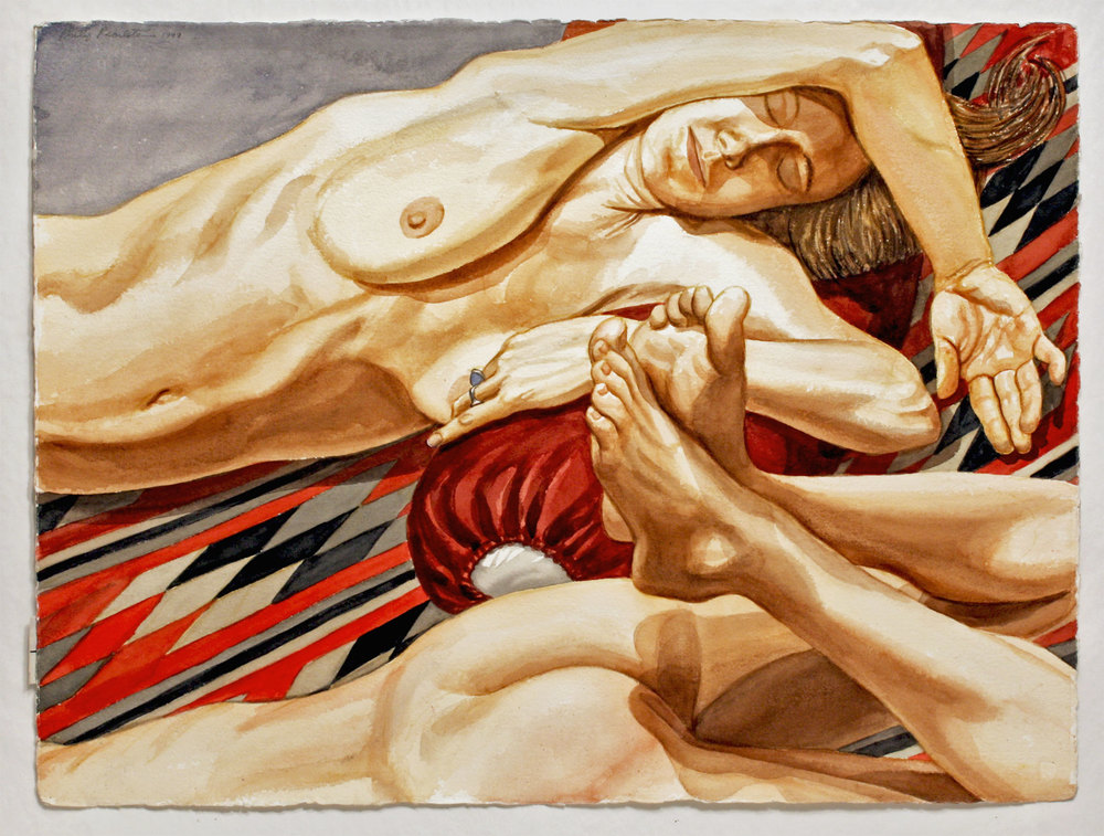 TWO NUDES ON NAVAJO BLANKET, 1999 Watercolor on paper 22 1/2 x 30 inches