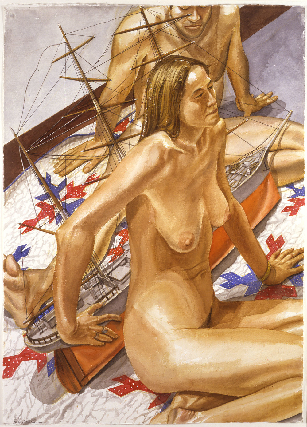 MALE AND FEMALE MODELS WITH MODEL OF TALL SHIP , 2000 Watercolor on paper 41 3/8 x 29 5/8 inches