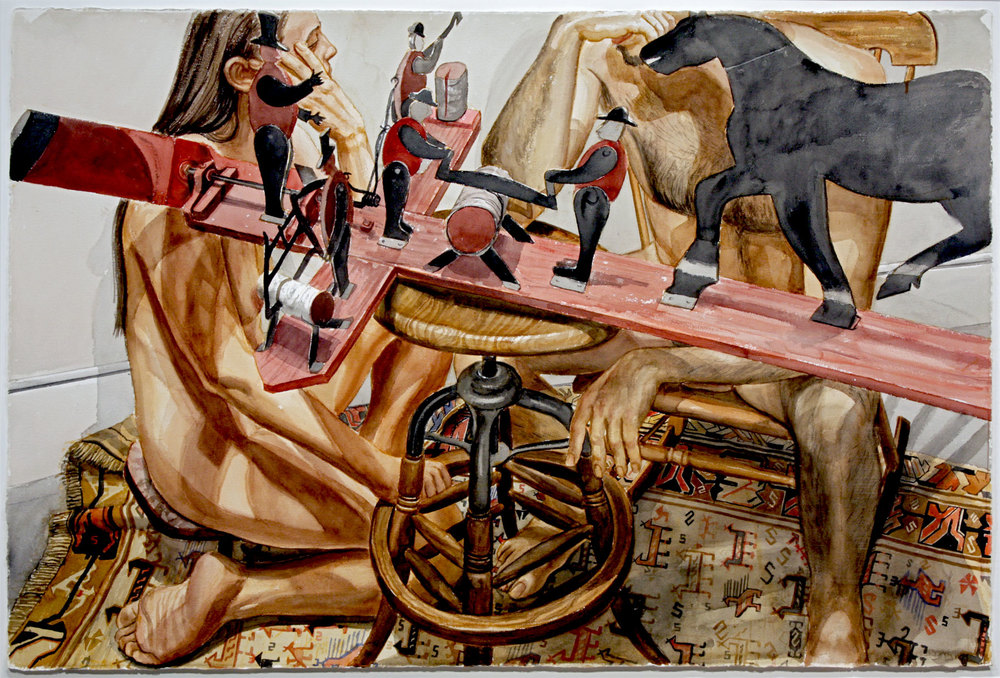 Male and Female Models with Whirly-Gig , 2002 Watercolor on paper 40 x 60 inches