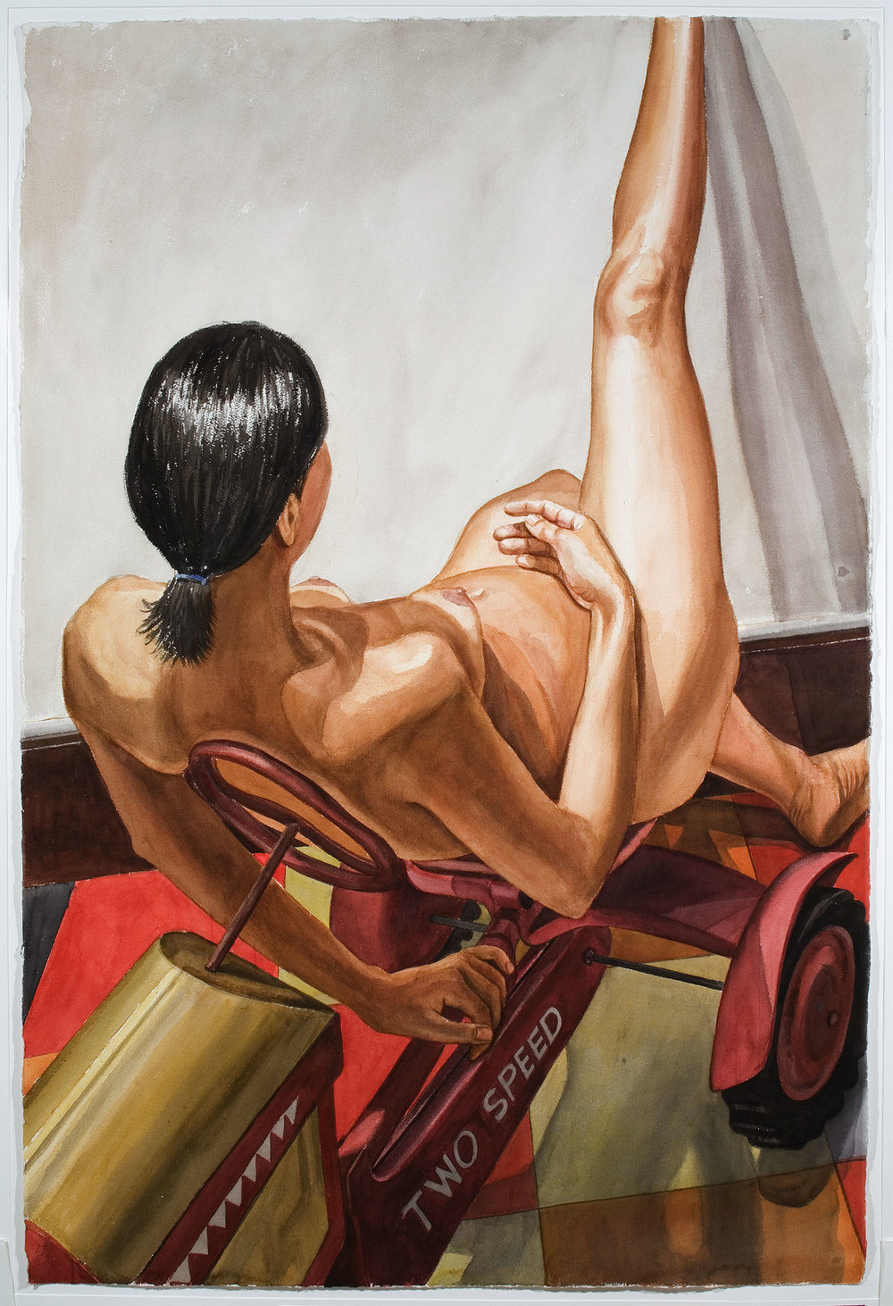 MODEL ON KIDDIE CAR TRACTOR , 2002 Watercolor on paper 60 x 40 inches