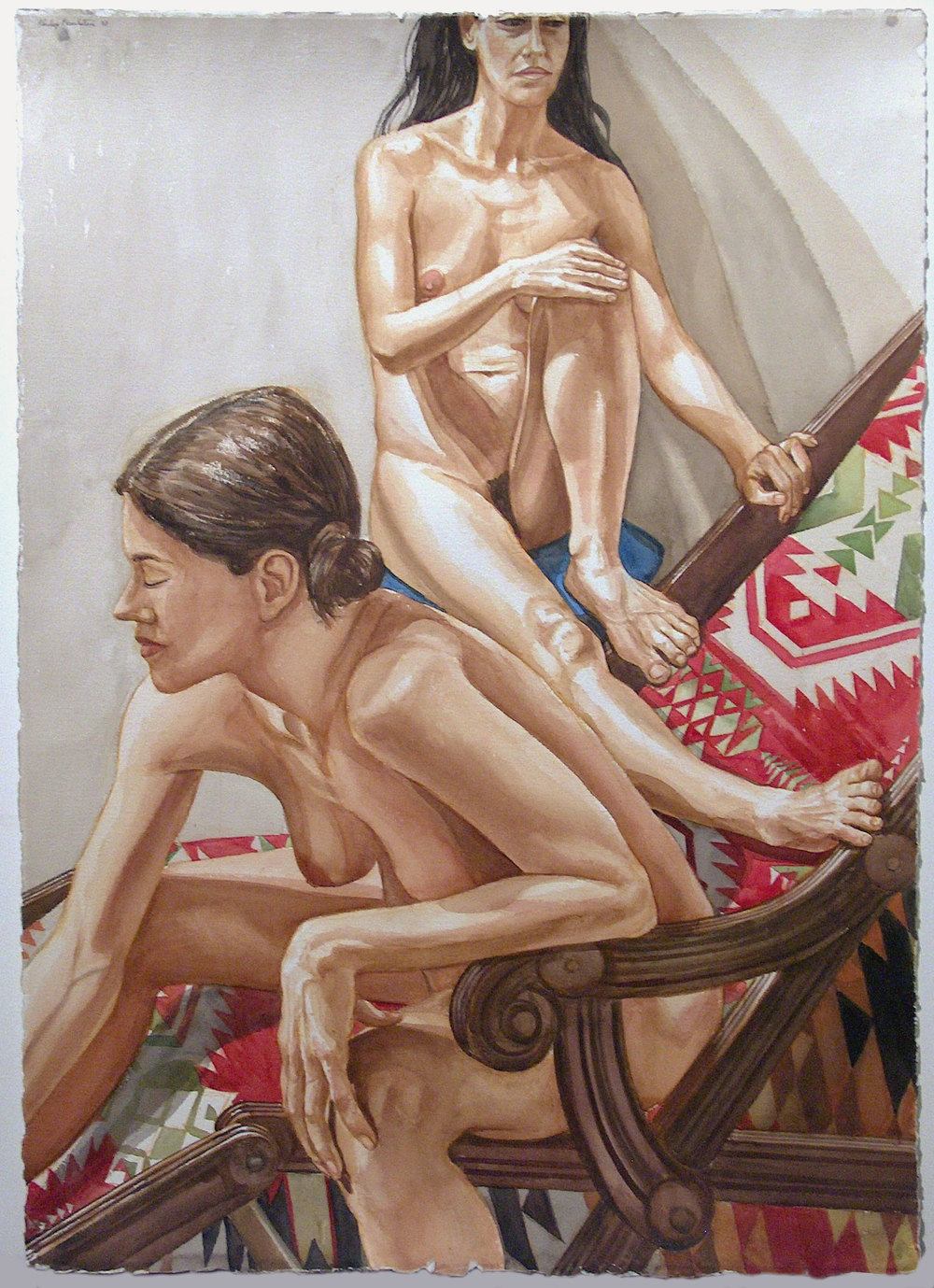 TWO MODELS AND A WOOD BEACHCHAIR , 2002-2003 Watercolor on paper 41 1/2 x 29 5/8 inches