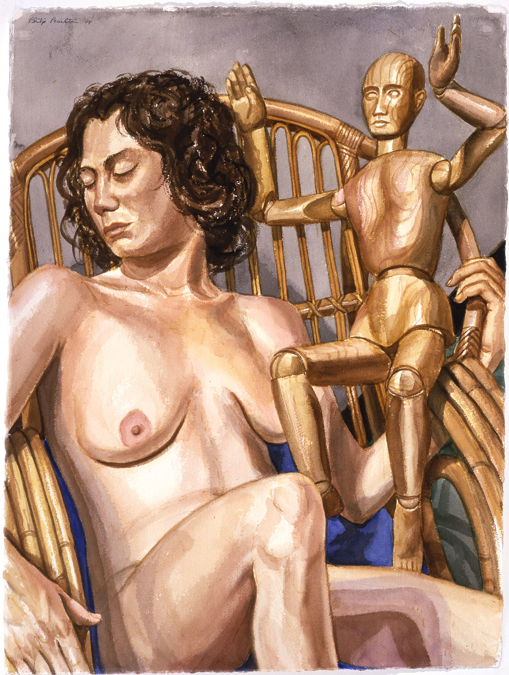 A MODEL WITH ARTIST MANNEQUIN , 2004 Watercolor on paper 30 x 22 1/4 inches