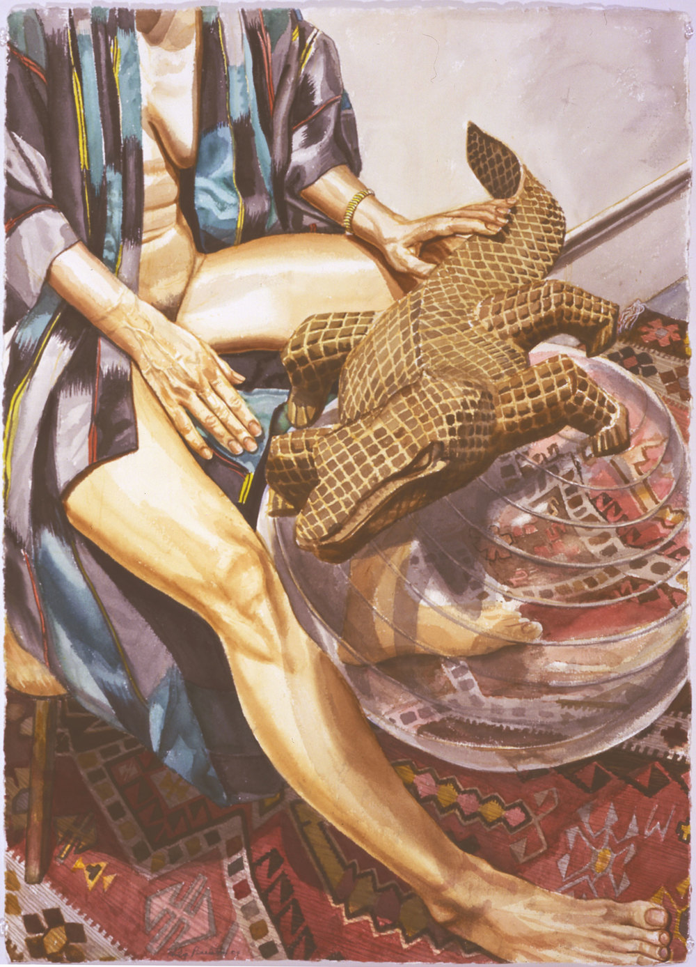 MODEL WITH CARVED WOODEN LIZARD ON EXERCISE BALL , 2004 Watercolor on paper 41 1/4 x 29 1/2 inches