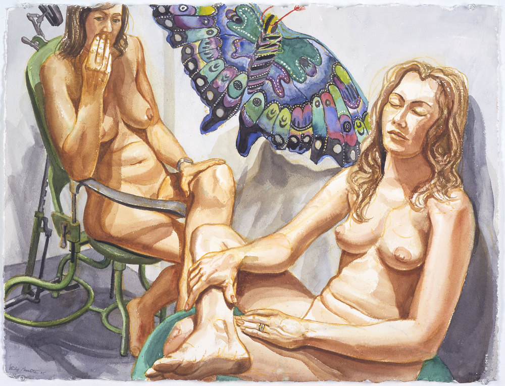 TWO NUDES WITH BUTTERFLY KITE , 2004 Watercolor on paper 23 x 30 1/4 inches
