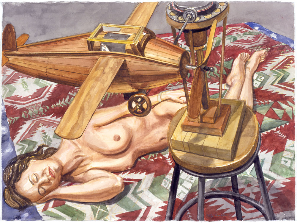 STUDY FOR MODEL WITH WOODEN AIRPLANE , 2004 Watercolor on paper 22 3/4 x 30 1/2 inches