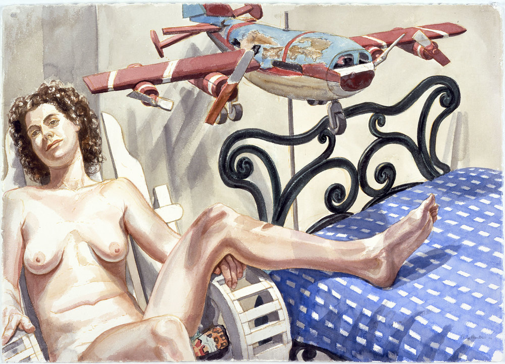 NUDE WITH WEATHERVANE AIRPLANE AN IRON BED , 2004 Watercolor on paper 29 1/2 x 41 1/2 inches