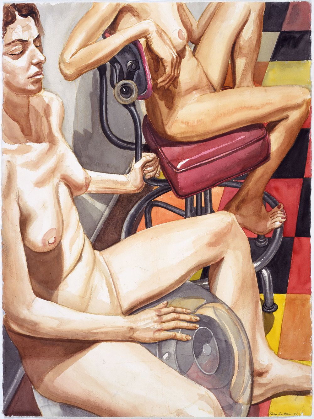 TWO NUDES, EXERCISE BALL AND OLD OFFICE CHAIR , 2005 Watercolor on paper 30 x 22 1/4 inches