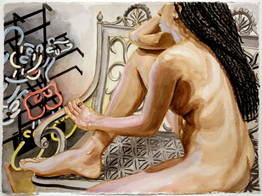 MODEL WITH MICKEY MOUSE ON IRON BENCH , 2007 Watercolor on paper 22 1/2 x 30 1/4 inches