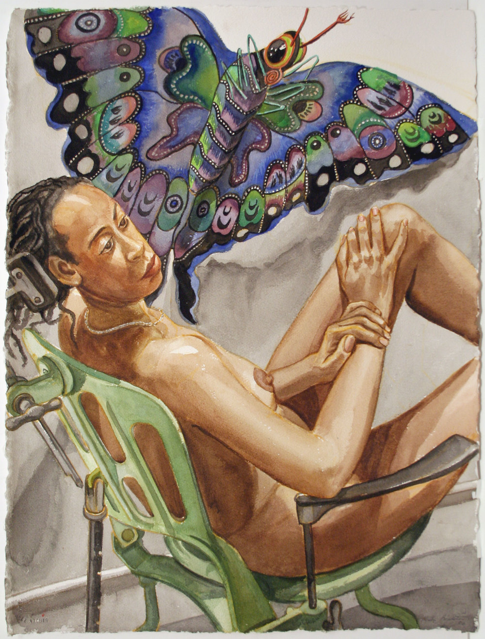 STUDY FOR MODEL WITH BUTTERFLY KITE , 2007 Watercolor on paper 30 x 22 1/2 inches