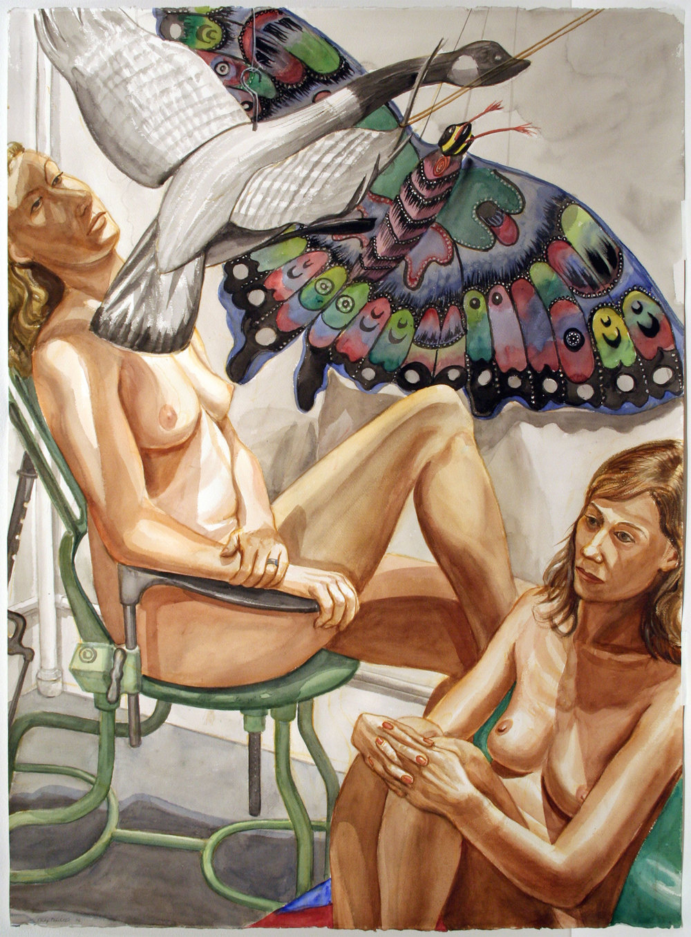 STUDY FOR TWO NUDES WITH FLYING GOOSE, BUTTERFLY AND EXAMINATION CHAIR , 2007 Watercolor on paper 46 1/4 x 34 inches