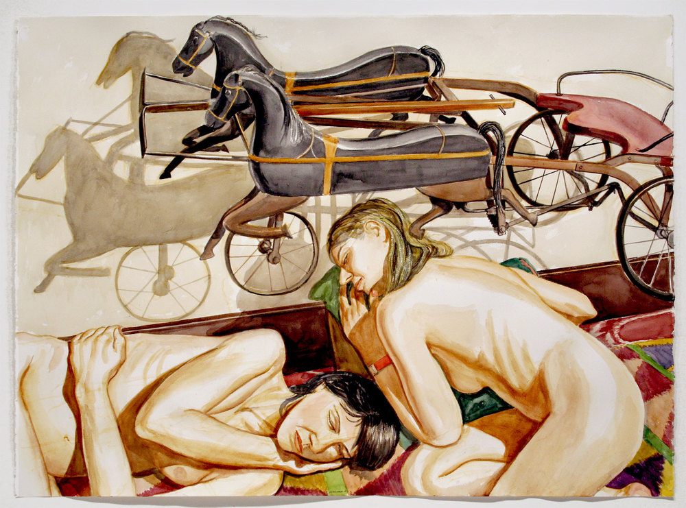 MODELS WITH HORSE DRAWN CHARIOT KIDDIE CAR , 2007 Watercolor on paper 34 x 46 1/2 inches