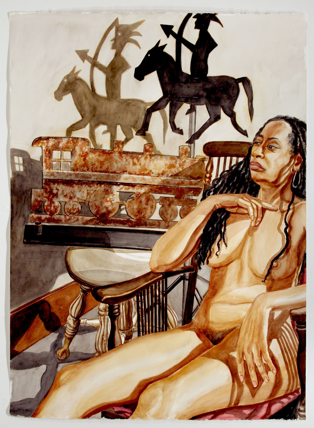 MODEL WITH LOCOMOTIVE AND AMERICAN INDIAN WEATHERVANES , 2007 Watercolor on paper 46 1/2 x 34 inches