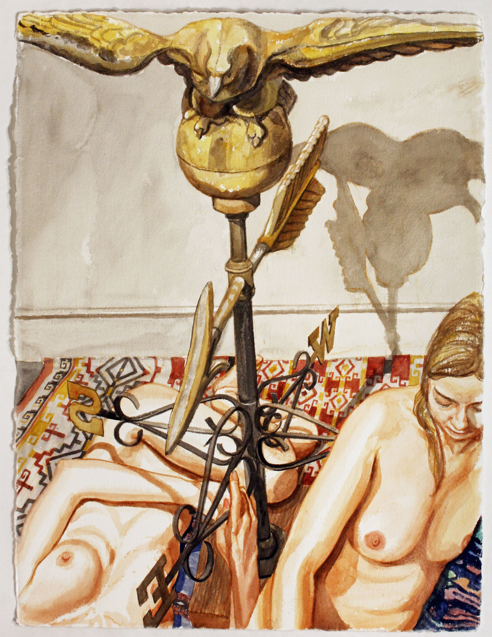TWO MODELS WITH EAGLE WEATHERVANE , 2007 Watercolor on paper 30 x 22 1/2 inches