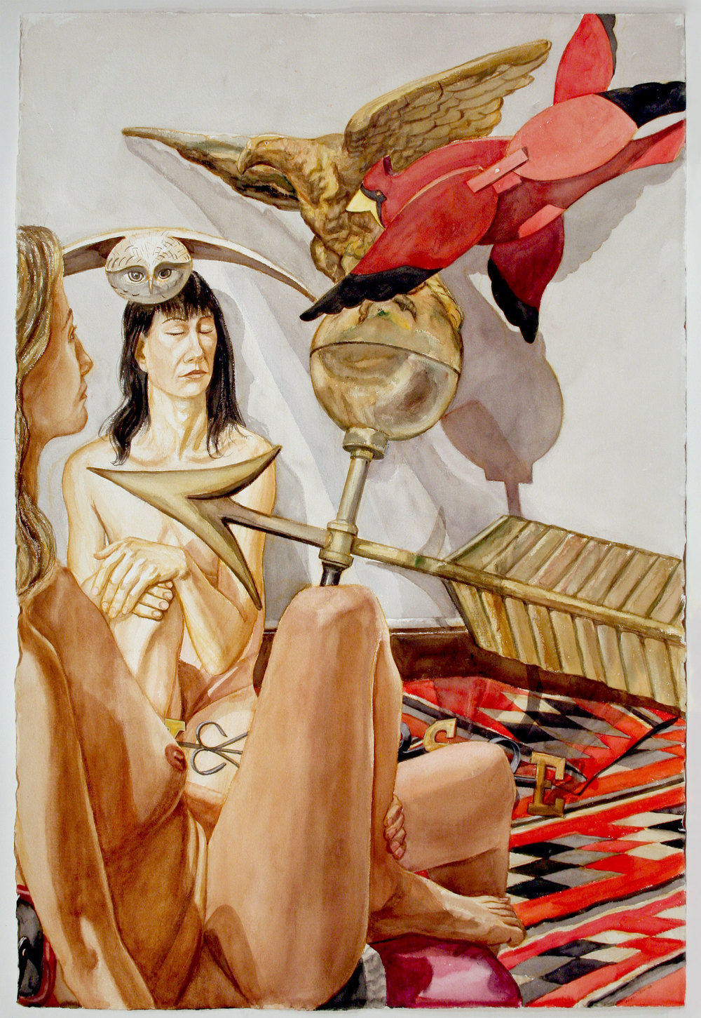 TWO MODELS WITH EAGLE WEATHERVANE, CARDINAL WHIRLIGIG,  2008 Watercolor on paper 59 3/4 x 40 1/4 inches