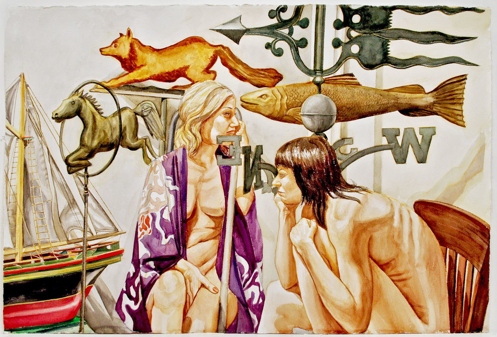 TWO MODELS WITH WEATHERVANE, FISH, FOX, HORSE, AND BOAT , 2008 Watercolor on paper 40 x 60 inches