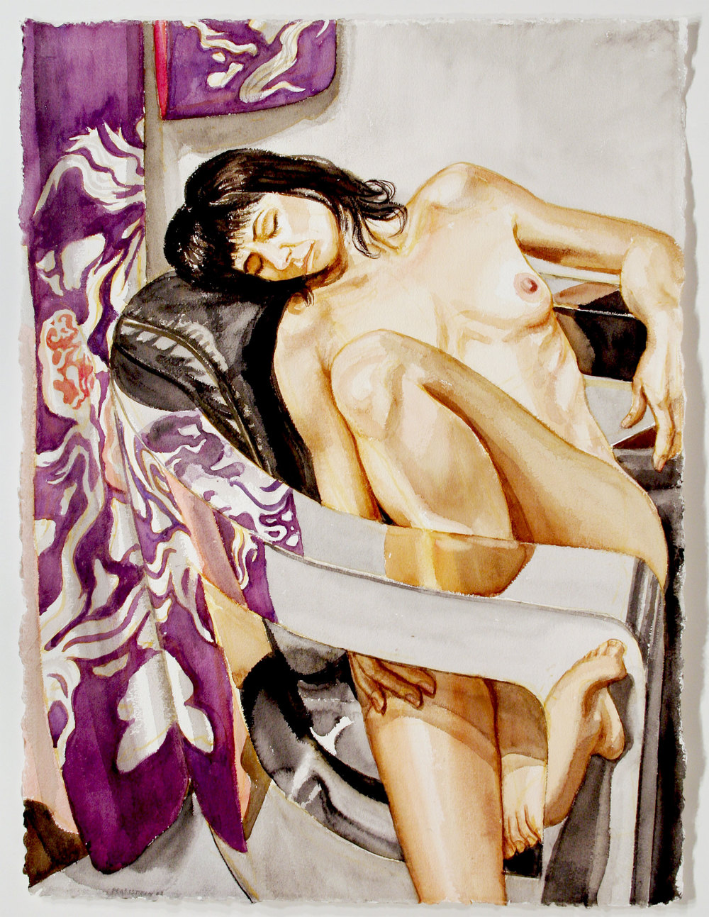 MODEL WITH KIMONO AND CHROME CHAIR , 2008 Watercolor on paper 30 1/2 x 23 inches