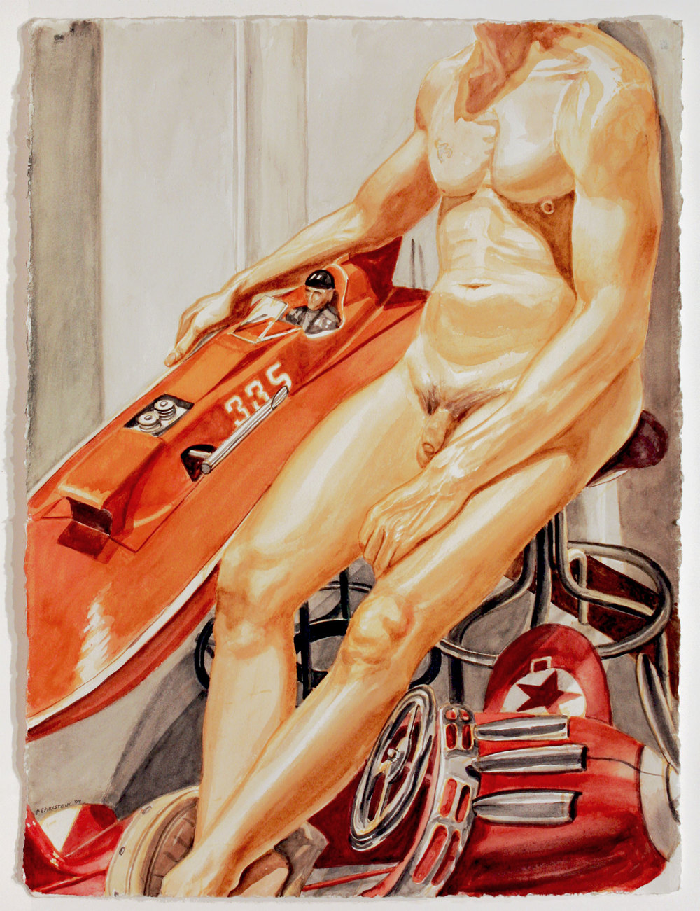 Nude Male with Kiddie Car Airplane and Model Speedboat , 2010 Watercolor on paper 30 1/4 x 22 1/2 inches