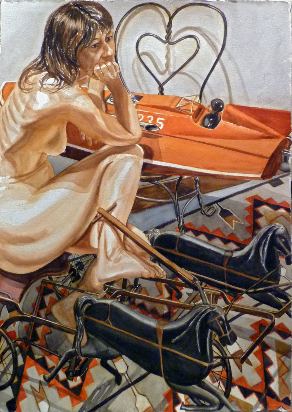 Model with Speedboat and Kiddie Car Harness Racer , 2010 Watercolor on paper 29 x 41 inches