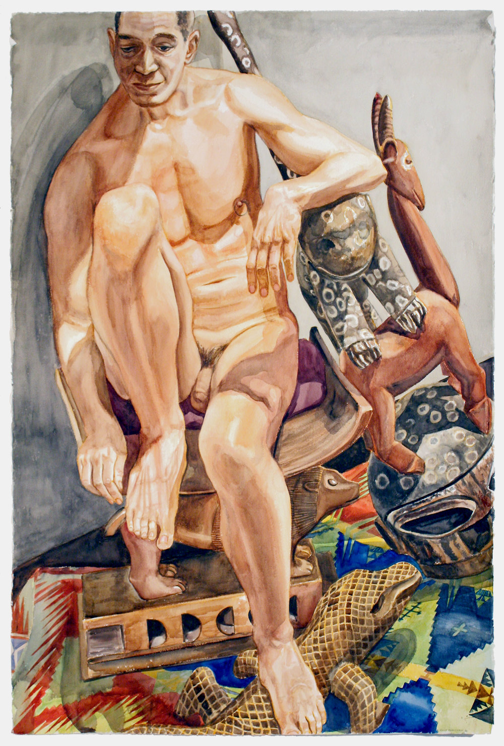 Nude Male with African Carvings , 2010 Watercolor on paper 60 x 40 1/4 inches