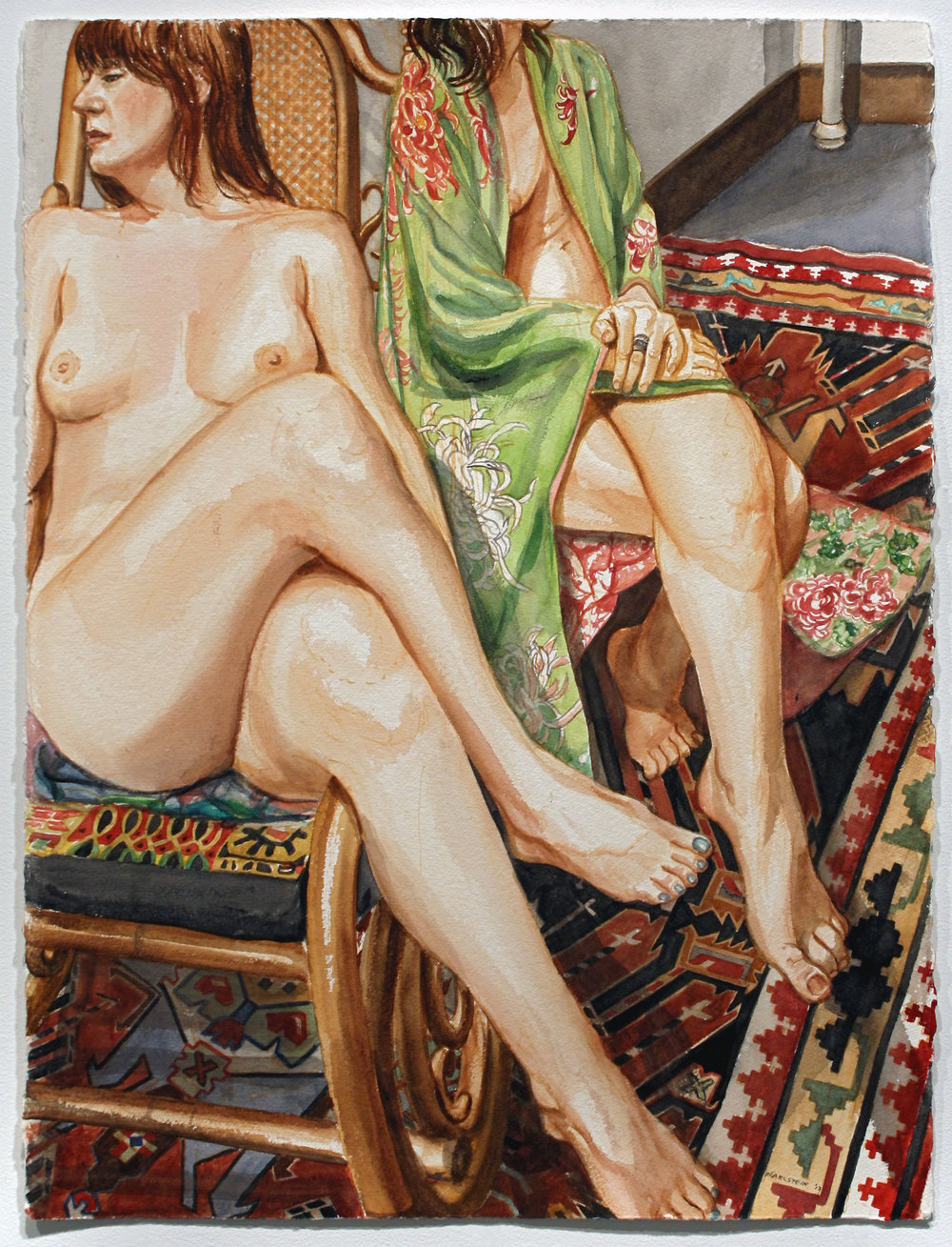 Two Models with Caucasian Rug , 2013 Watercolor on paper 30 x 22 1/2 inches