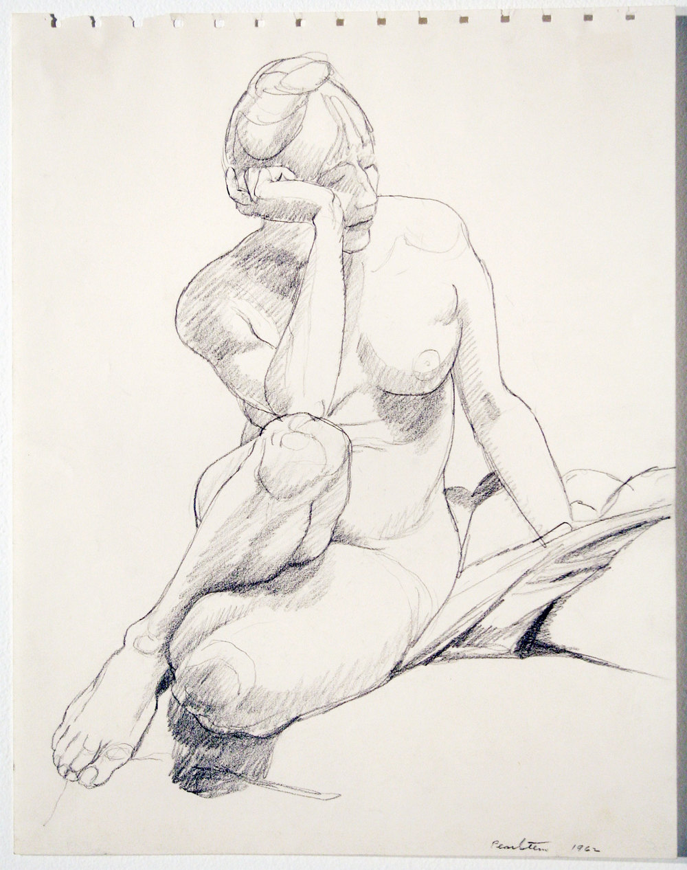 SEATED NUDE , 1962 Pencil on paper 13 3/4 x 10 3/4 inches