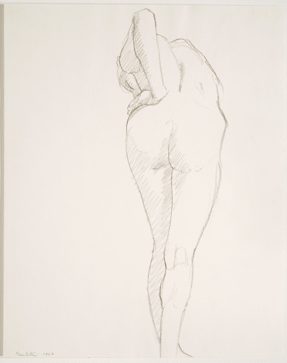 STOOPING NUDE , 1962 Pencil on paper 14 x 11 inches