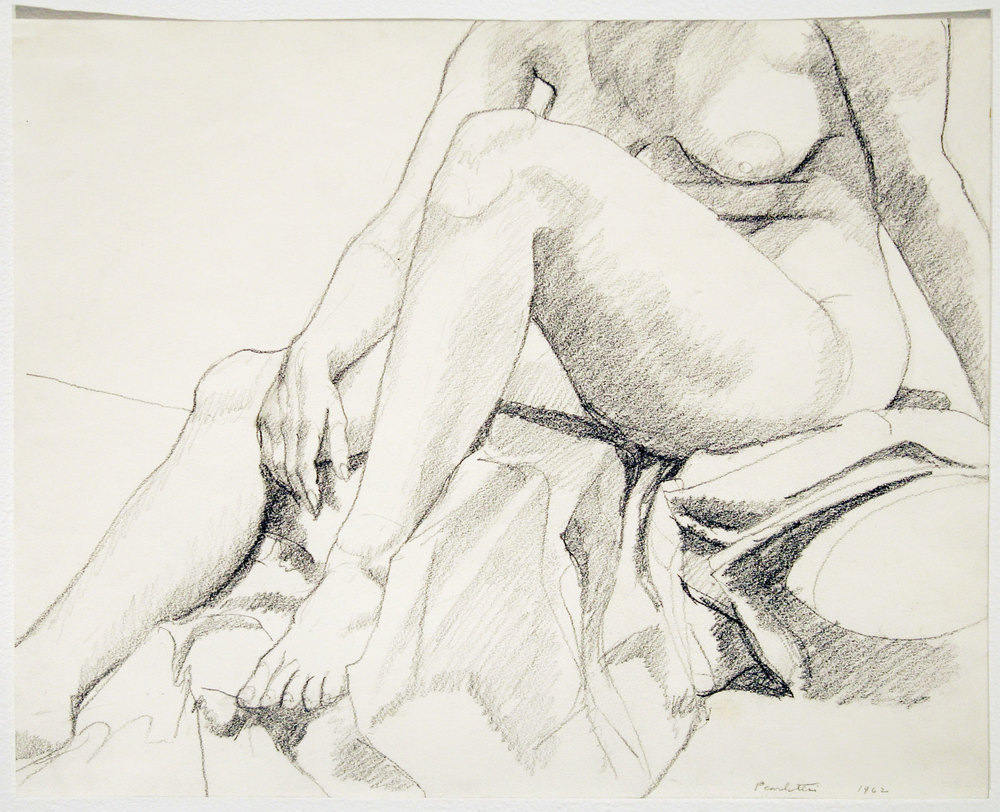 NUDE SEATED ON BLANKETS , 1962 Pencil on paper 11 x 14 inches