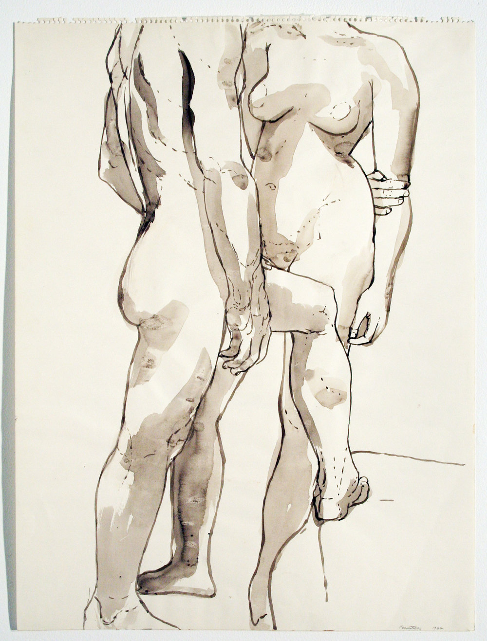 TWO STANDING MODELS , 1962 Watercolor on paper 23 3/4 x 18 inches