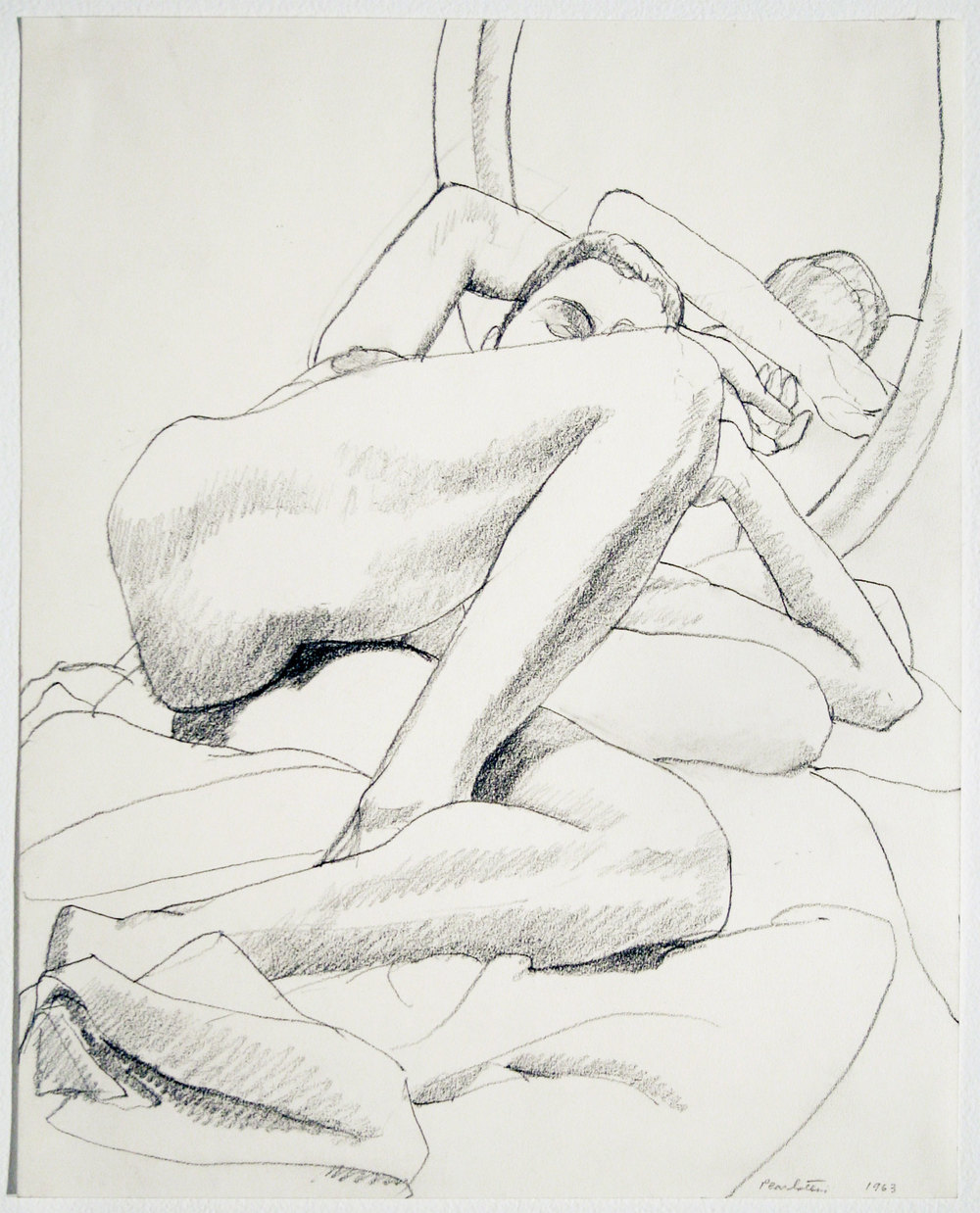 NUDE RECLINING IN FRONT OF MIRROR , 1963 Pencil on paper 14 x 11 inches