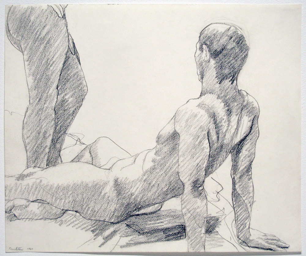 RECLINING MALE, STANDING FEMALE , 1964 Pencil on paper 14 x 16 3/4 inches