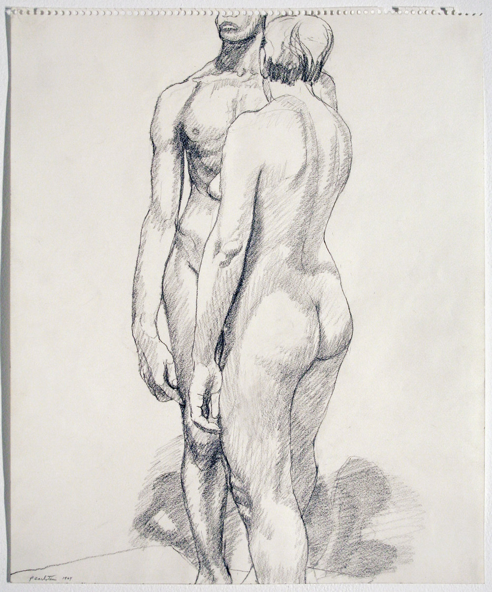 STANDING MALE AND FEMALE MODELS , 1964 Pencil on paper 17 x 14 inches