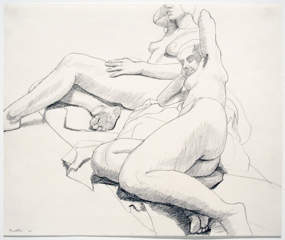 RECLINING AND SEATED MODELS , 1964 Pencil on paper 14 x 17 inches