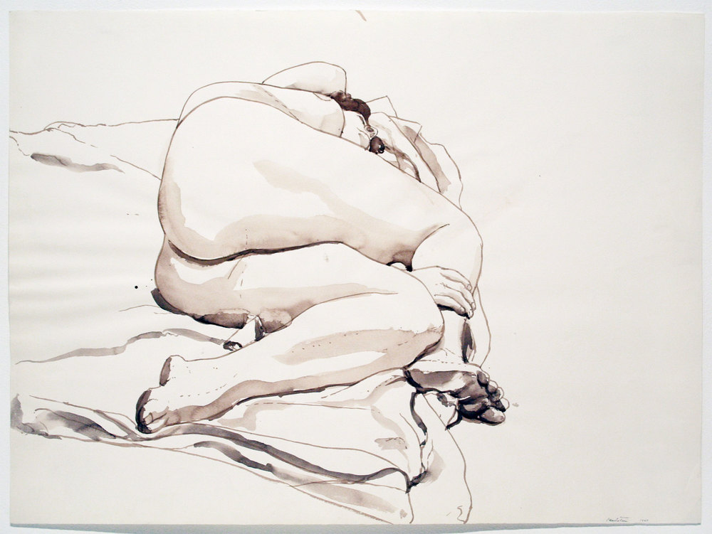 RECLINING NUDE , 1964 Watercolor on watercolor paper 22 x 29 3/4 inches