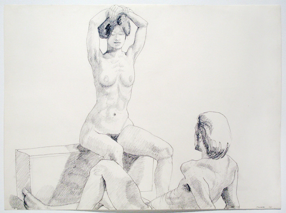 MALE RECLINING, FEMALE SEATED , 1965 Pencil on fabriano watercolor paper 22 x 30 inches