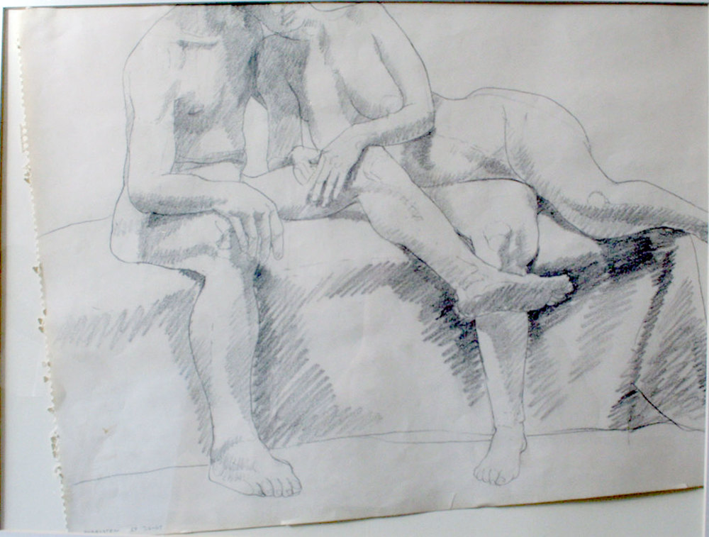 TWO MODELS, ONE LYING WITH HEAD ON SHOULDER , 1967 Pencil on paper 18 x 24 inches