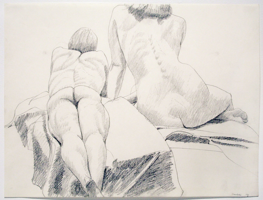 FEMALE SEATED, MALE RECLINING , 1966 pencil on paper 17 3/4 x 23 3/4 inches