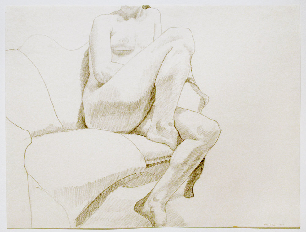 NUDE SEATED ON A COUCH , 1967 Pencil on paper 17 3/4 x 23 3/4 inches