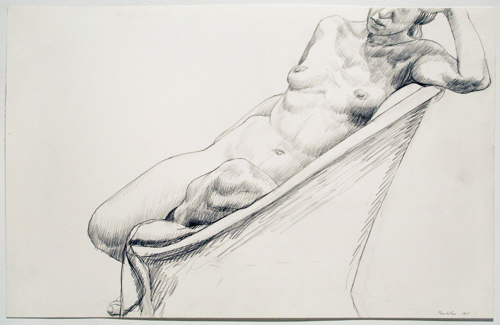 NUDE SEATED IN CHAIR , 1967 pencil on plate finish paper 14 x 22 inches