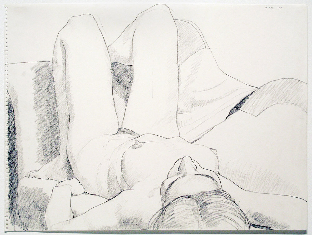 RECLINING NUDE , 1968 Pencil on paper 17 3/4 x 23 3/4 inches