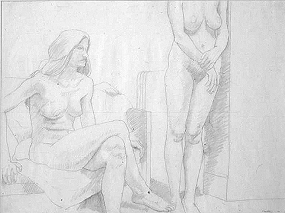 TWO MODELS, ONE STANDING AGAINST WALL , 1970 Pencil on paper 18 x 23 7/8 inches
