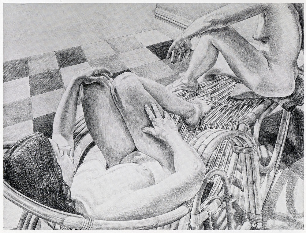 Two Nudes on a bamboo Recliner and Linoleum , 1984 Pencil on paper 30 x 40 inches