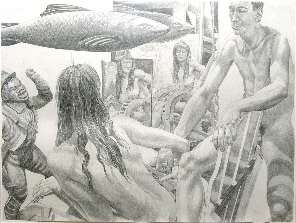 STUDY FOR MODELS WITH TWO MIRRORS , 1990 Pencil on paper 30 x 40 inches