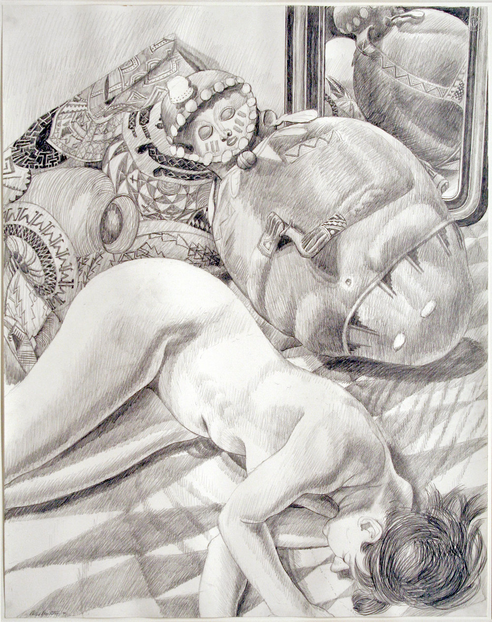 MODEL WITH PERUVIAN POT , 1990 Pencil on paper 29 x 23 inches