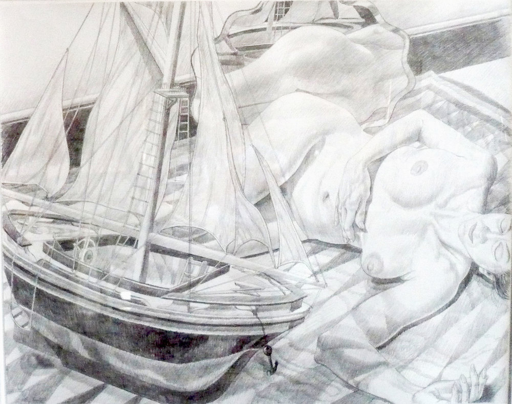 MODEL WITH BOAT , 1990 Pencil on paper 23 1/4 x 29 inches