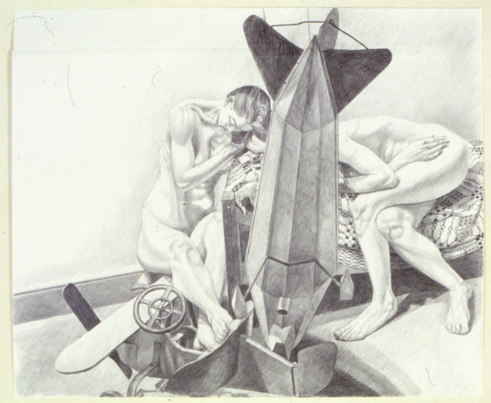 STUDY FOR MODELS WITH DIRIGIBLE WEATHERVANE AND KIDDIE CAR AIRPLANE , 1991 Pencil on paper 30 x 40 inches