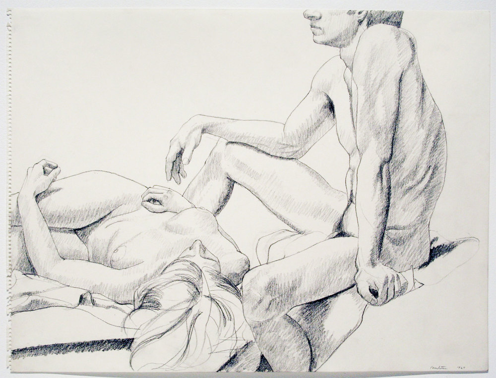 MALE SEATED, FEMALE RECLINING , 1967 pencil on paper 18 x 24 inches
