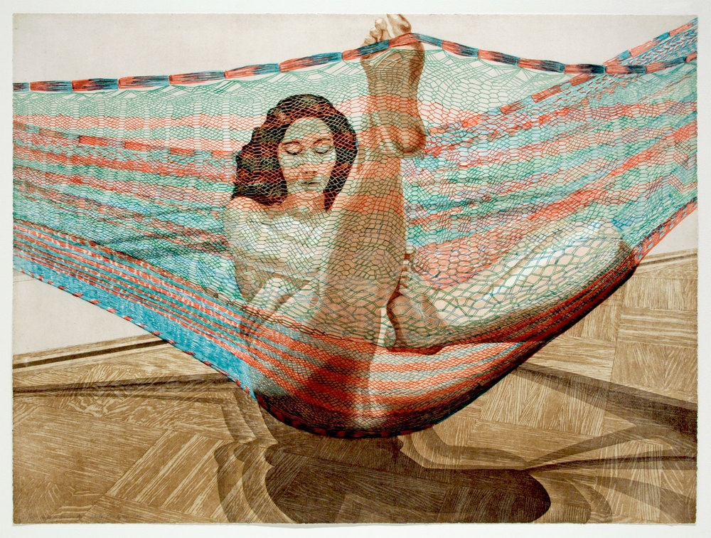 NUDE IN HAMMOCK , 1982 Etching 30 x 40 1/4 inches