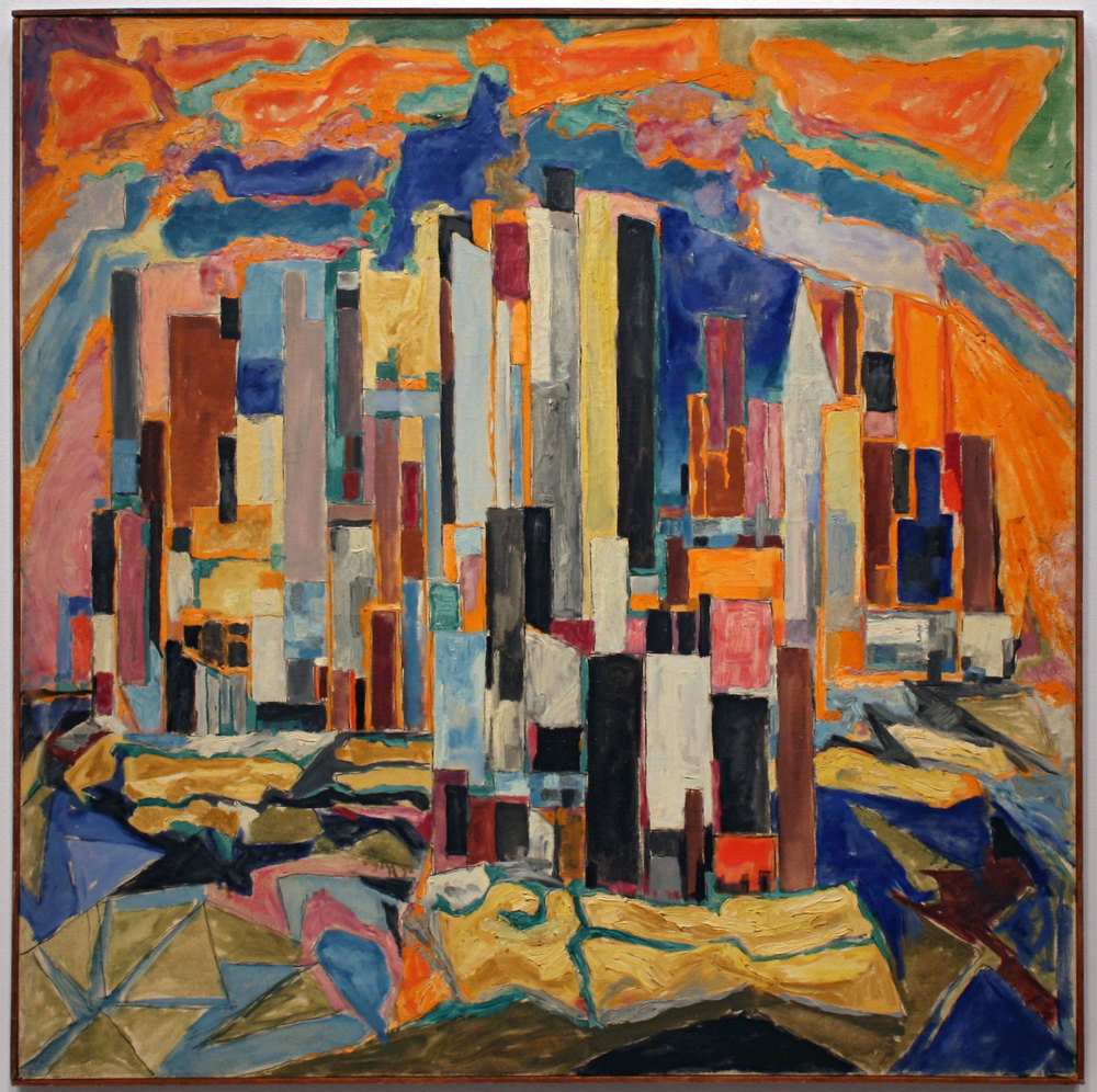 The City , 1951 Oil on Canvas 40 x 40 inches