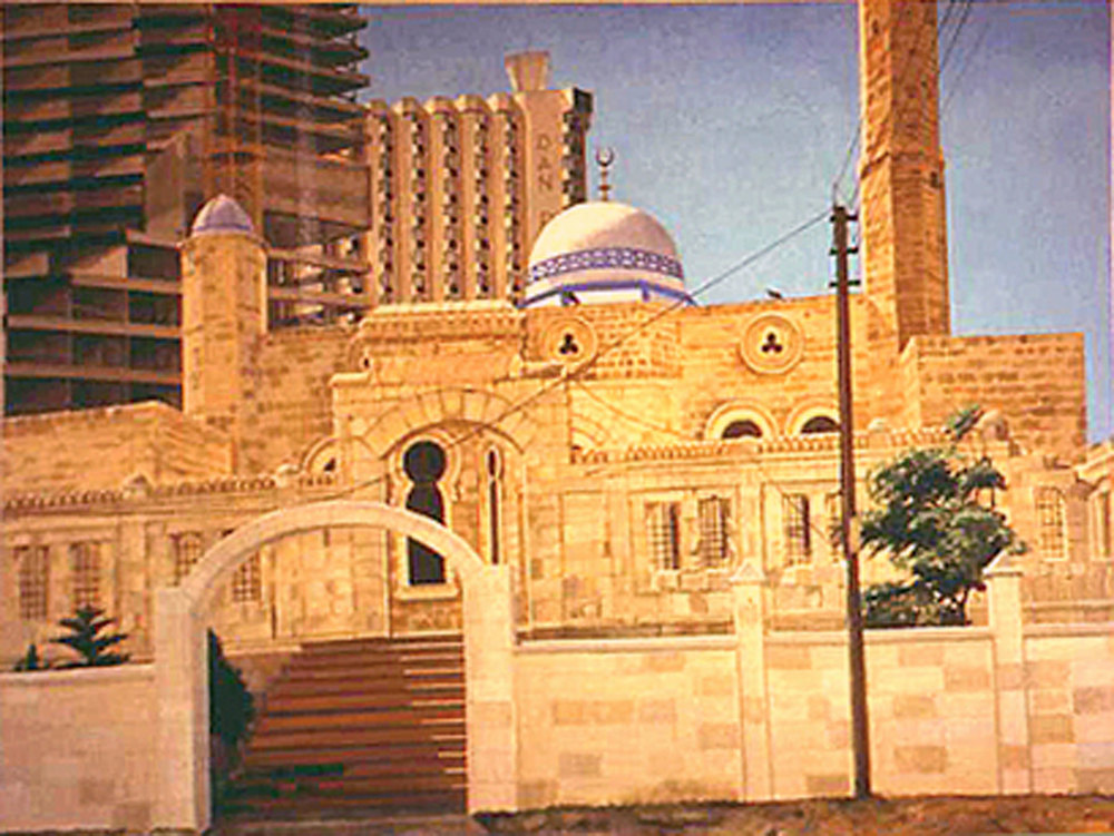 MOSQUE AND NEW CONSTRUCTION, TEL AVIV , 1997  Oil on canvas 36 x 48 inches
